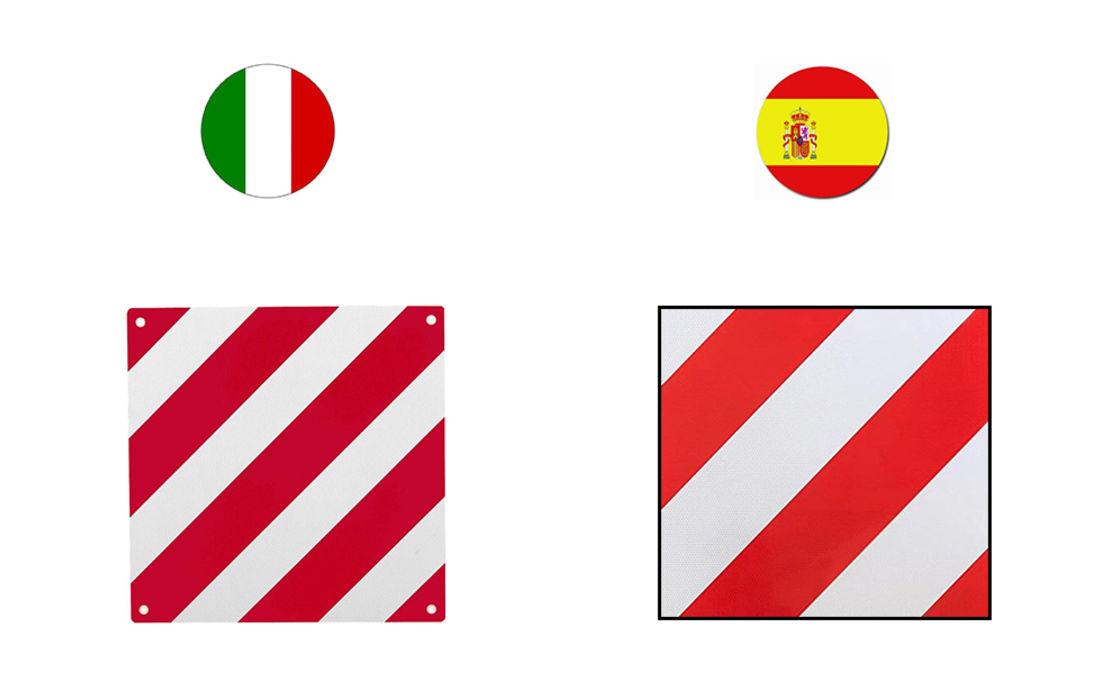 Warntafeln Warntafel reflektierend Italien Spanien 50x50cm Aluminium Heckträger